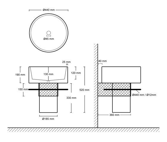Balcony - black by Urbi et Orbi | Wash basins