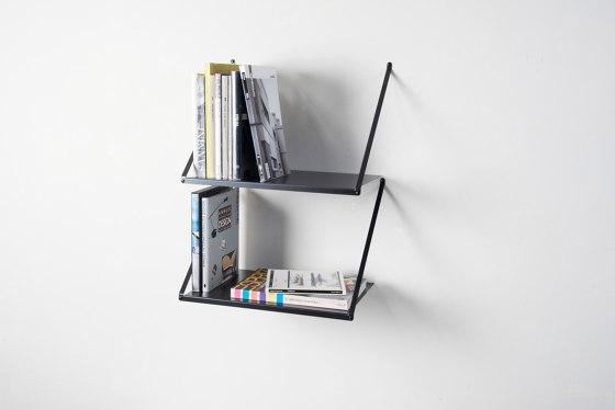 TEEall Hanging wall shelf in black steel by Teebooks | Shelving