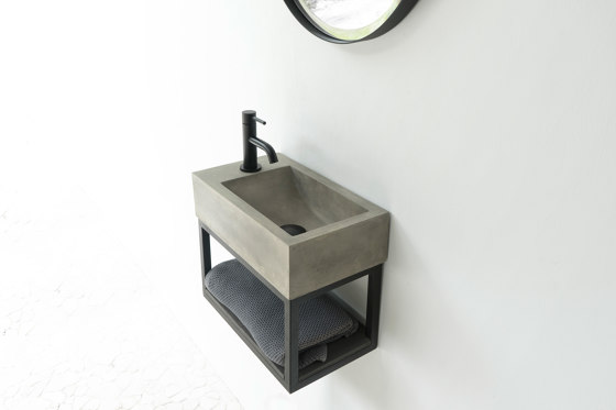 Basic with black powdercoated frame - Concrete Basin - Sink - Washbasin - Wallmount by ConSpire   Vanity units