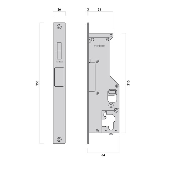 Mardeco 8104 M-Series Flush Pull Euro Lock Set Satin Brass by Mardeco International Ltd. | Flush pull handles