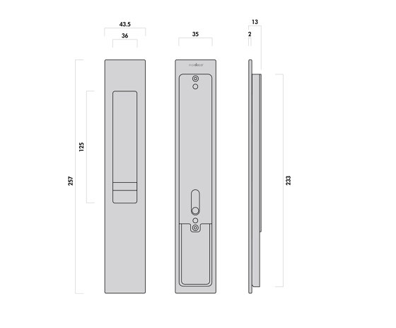 Mardeco 8104 M-Series Flush Pull Euro Lock Set Satin Chrome by Mardeco International Ltd.   Flush pull handles