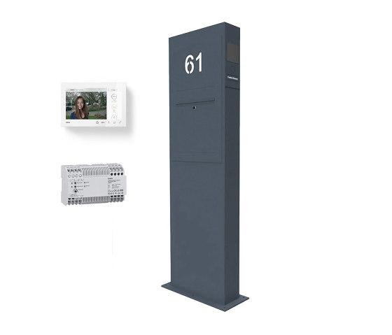 Designer   Briefkastensäule Designer BIG - GIRA System 106 - Video- Sprechanlage - Hausnummer - RAL Farbe Rechts by Briefkasten Manufaktur   Mailboxes