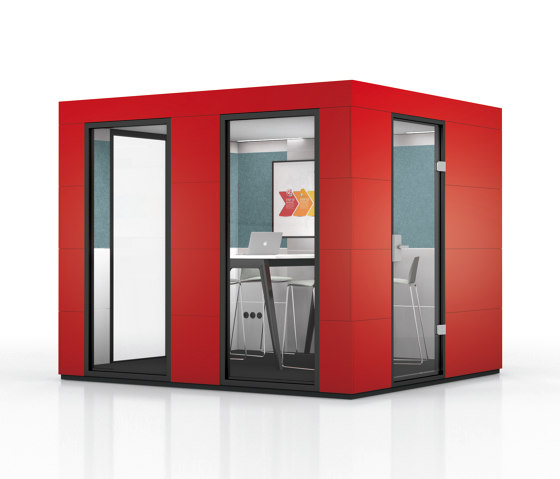 Conference Unit | Chilli Red by OFFICEBRICKS | Soundproofing room-in-room systems