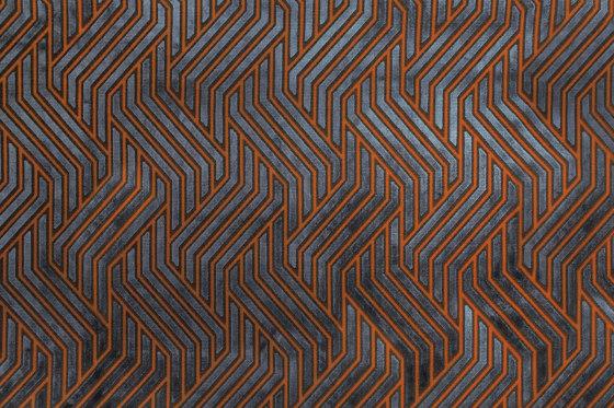 Invicta | Modernist Jacquard Velvet 03 Terracotta Blue by Aldeco | Upholstery fabrics