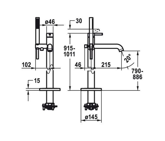 KWC BEVO Lever mixer for freestanding tub by KWC | Bath taps