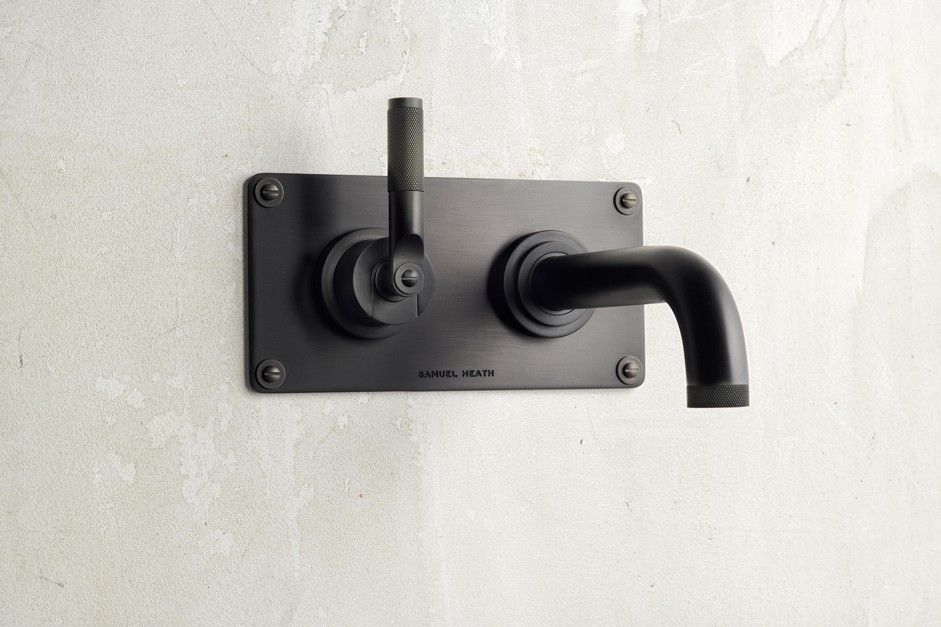 Picture of: Lmk Industrial Wall Mounted Lavatory Mixer Matte Black Chrome Architonic