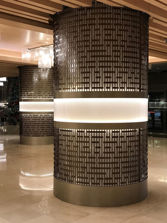 Decorative Round Metal Laser Cut Column Covers In Medium